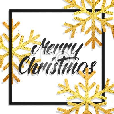 Frohe Weihnachten Glitzer.Fototapete Frohliche Weihnachten Grusskarte Mit Frohe Weihnachten Kalligraphie