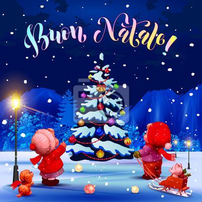 Glückwünsche Zu Weihnachten.Fototapete Fröhliche Weihnachten Herzlichen Glückwunsch Auf Italienisch