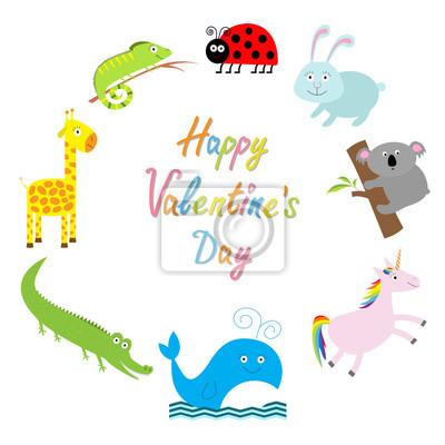 Fröhlichen Valentinstag. Liebe Karte. Netter Tierrahmen. Baby Hintergrund. Marienkäfer, Koala, Wal, Kaninchen, Einhorn, Alligator, Giraffe und Leguan. Flaches Design