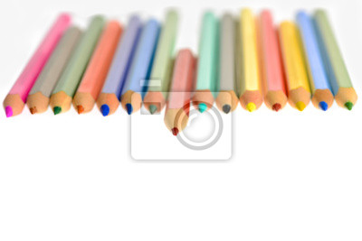 Front view of aligned coloring crayons isolated fototapete ...
