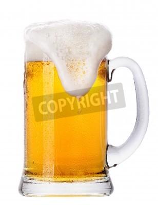 Fototapete Frosty Glas Licht Bier-Set isoliert auf weißem Hintergrund
