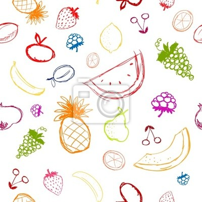 Früchte und Beeren Skizze, nahtlose Hintergrund für Ihr Design