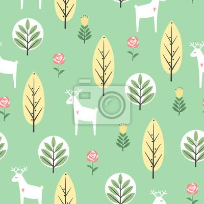 Fototapete Frühling Bäume, Blumen und Hirsche nahtlose Muster auf Minze grünen Hintergrund. Dekorative Wald Vektor-Illustration. Nette Tiere Natur Hintergrund. Skandinavischen Stil Design für Textil-, Stoff-, De
