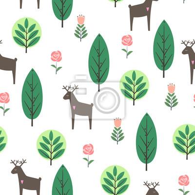 Fototapete Frühling Bäume, Blumen und Hirsche nahtlose Muster auf weißem Hintergrund. Dekorative Wald Vektor-Illustration. Nette wilde Tiere Natur Hintergrund. Skandinavischen Stil Design für Textil-, Stoff-, De