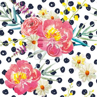 Fototapete Frühling Blumensträuße mit Pfingstrosen auf dem Hintergrund mit Punkten. Aquarell nahtlose Muster. Rosa, gelbe Blumen und Blumenelemente.