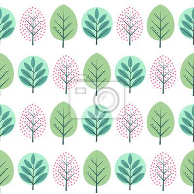 Fototapete Frühling dekorative Bäume nahtlose Muster. Nette Natur Hintergrund mit grünen Blättern. Skandinavischen Stil Wald Vektor-Illustration. Design für Textilien, Tapeten, Stoffe.