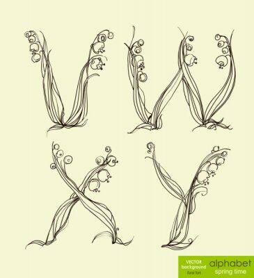 Frühling floral stilisierte Handzeichnung Alphabet. Abbildung.