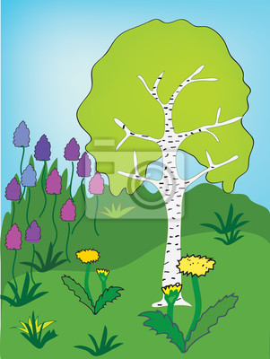 Frühling Landschaft mit Birke