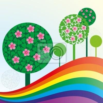 Fototapete Frühling oder Sommer Hintergrund mit Wiese, Vektor-Illustration