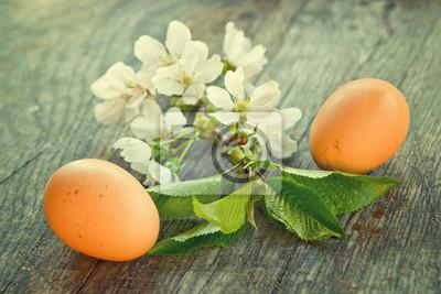 Fototapete Frühlingsblumen und Ostereier