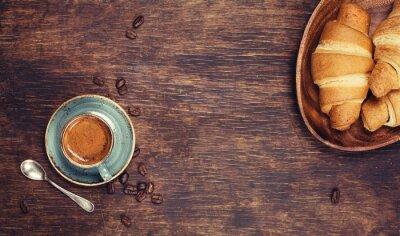 Fototapete Frühstück mit Kaffee und Croissants