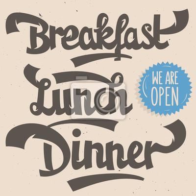Frühstück Mittagessen Abendessen. Künstlerische handgezeichnete Skriptbeschriftung