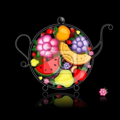 Fruit Drink, Teekanne auf schwarz für Ihr design