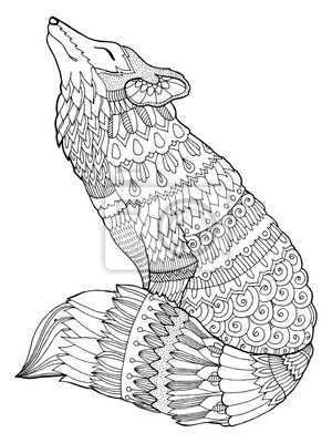 Fuchs Färbung Buch Vektor-Illustration