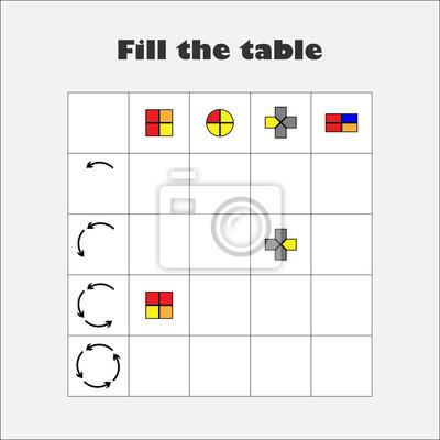 Füllen sie die tabelle mit bunten geometrischen formen für kinder ...