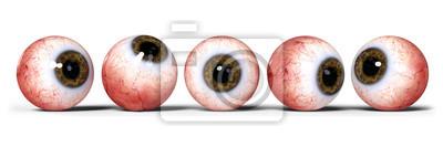 Fototapete Fünf realistische menschliche Augen mit brauner Iris, isoliert auf weißem Hintergrund