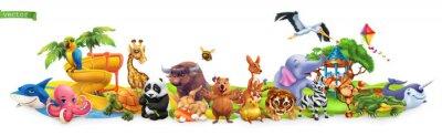 Fototapete Funny animals. 3d vector panorama. Quokka, shark, turtle, parrot, giraffe, rabbit, zebra, elephant, stork, crocodile, kangaroo, panda. High quality 50mb eps