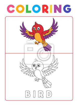Funny bird coloring book with example. preschool worksheet for ...