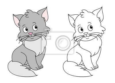 Fototapete: Funny cats coloring book vector