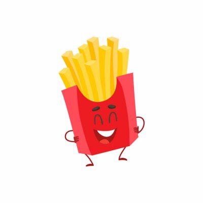 Funny französisch frites fast food kinder menü charakter, cartoon ...