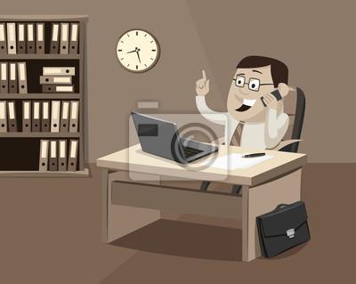 Funny Geschaftsmann Am Telefon Im Buro Kundendienst Retro Einfache