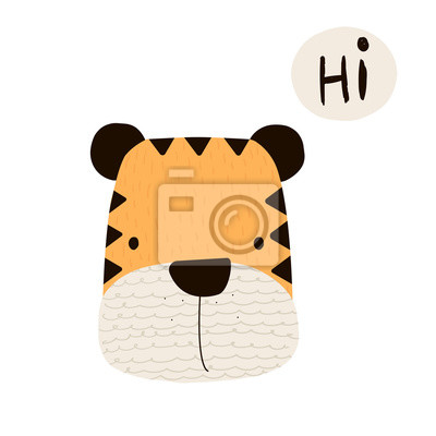 Fototapete Funny little tiger. Vector hand drawn illustration.