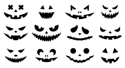 Fototapete Funny physiognomies. A set of Halloween pumpkins with carved silhouettes of faces isolated on white. A template with eyes, mouths, noses for cutting out jack o lantern. Black White Vector illustration
