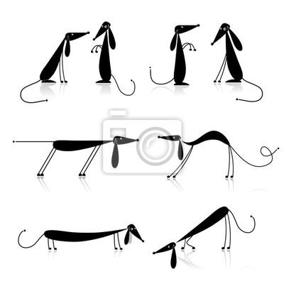 Funny Schwarzen Hunden Silhouette, Auflistung für Ihr design
