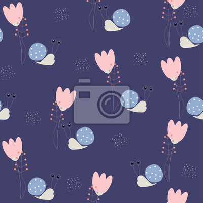 Fototapete Funny snail and wildflowers seamless pattern. Vector hand drawn illustration.