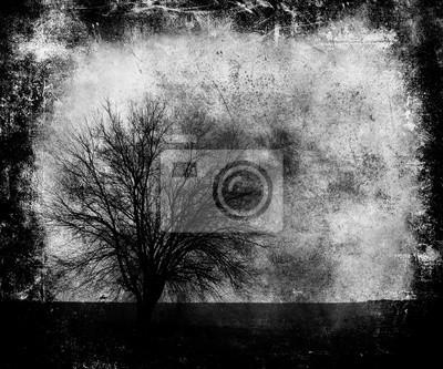 Furchtsame Tapete Mit Baum Zusammenfassung Dunkle Grunge Kratzer