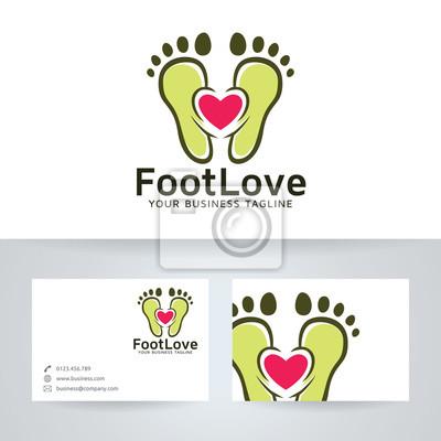 Fuß Liebe Vektor Logo Mit Visitenkarte Vorlage Fototapete