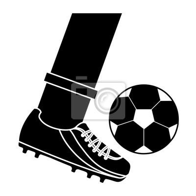 Fuss Treten Ball Fussball Fussball Symbol Bild Vektor