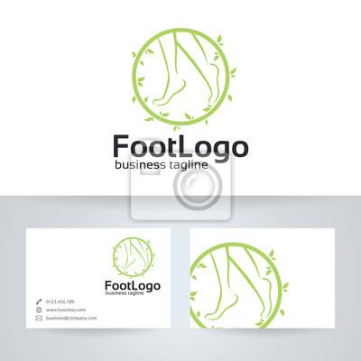 Fuß Vektor Logo Mit Visitenkarte Vorlage Fototapete