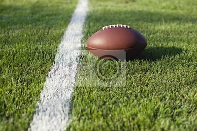 Fußball auf Gras-Feld auf das Tor oder Yard-Linie
