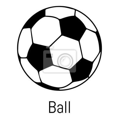 Fototapete Fußball Ball-Symbol, einfachen schwarzen Stil