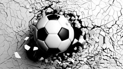 Fototapete Fußball, der gewaltsam durch eine weiße Wand bricht.  3D-Illustration.