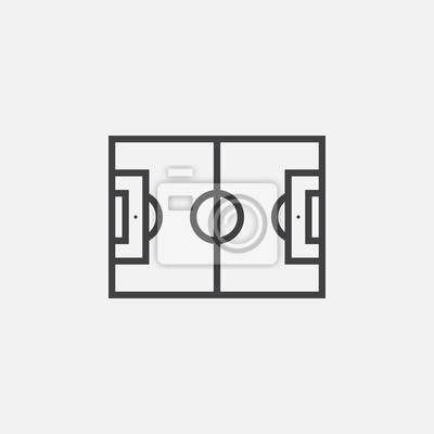Fussball Feld Linie Symbol Umriss Vektor Logo Abbildung