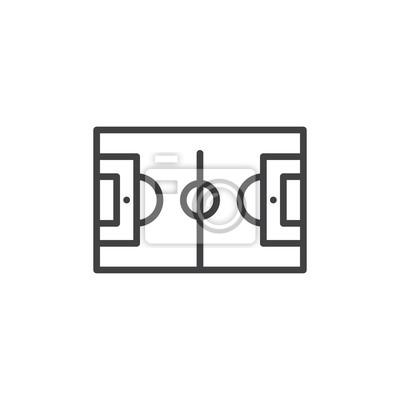 Fototapete Fussball Feld Symbol Umriss Vektor Zeichen Lineare Stil Piktogramm