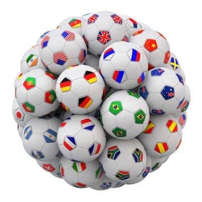 Fußball (Fußball) Bälle mit Nationen Teams Flags isoliert auf weißem Hintergrund