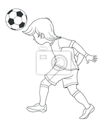 Fußball Fußball Malvorlage Illustration Für Kinder Fototapete