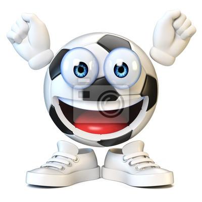 Fototapete Fussball Fussball Mit Karikaturgesicht Sport Emoji Wiedergabe