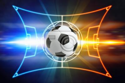 Fußball, Fußballfeld-Layout, helle blaue und rote Lichter