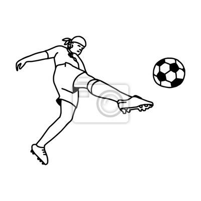 Fototapete Fussball Fussballspieler In Aktion Vektor Illustration Skizze