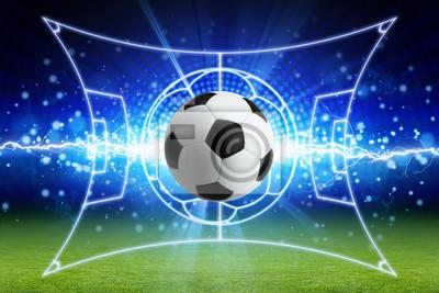 Fußball, hellen blauen Blitz, grüner Fußballplatz mit Layout