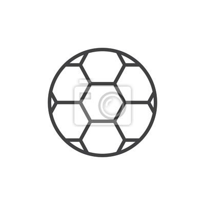 Fussball Kugel Symbol Kontur Vektor Zeichen Lineare Stil