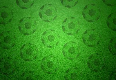 Fototapete Fußball-Kugeln Muster auf grünem Gras Hintergrund. Konzeptionelle Fußball Kopie Raum Hintergrund.