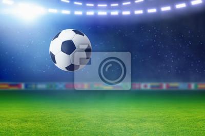 Fußball, leuchtendes Scheinwerfer beleuchtet grünes Fußballfeld