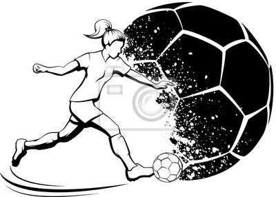 Fußball-Mädchen, das mit Grunge-Fußball-Hintergrund tritt