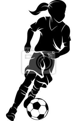 Fußball-Mädchen Dribbeln Silhouette