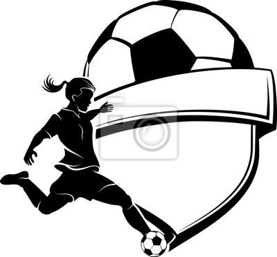 Fußball Mädchen Silhouette mit Schild